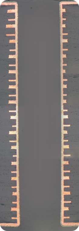 A cross-section of a 30 layer circuit board manufactured by Amitron.